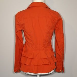 CAbi Jackets & Coats - CAbi Red Denim Ruffle Peplum Jacket - XS